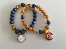 armband blue and gold met foto